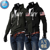 Free Shipping 20313 spring outerwear fashion male casual print with a slim hood sweatshirt men's clothing trend