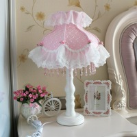 Free Shipping Pink princess wind bedroom bedside lamp table lamp rustic princess lace table lamp a8036