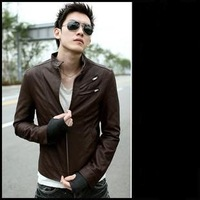 Men's clothing autumn new arrival 2012 motorcycle leather clothing male stereo stand collar oblique zipper leather male clothing