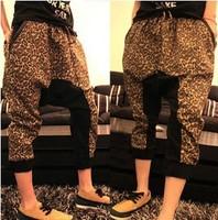 Summer casual pants men's low-rise pants harem pants male leopard print  sports pants