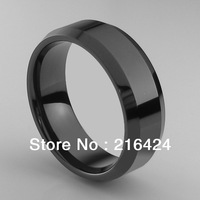 Free Shipping 8MM Black Tungsten Carbide Ring High Polish Beveled Edges Mens Ring New Size 8/9/10/11/12