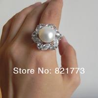 stunning big 12mm genuine white pearl zircon queen ring