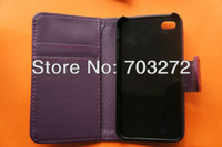 For iPhone4/4s Flip leather case, Wallet Flip Case with Credit ID Card Holder leather case for iphone4/4S 5pcs/lot free shipping