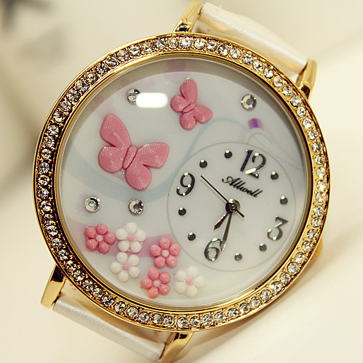 2013 butterfly polymer clay handmade 3D paragraph cartoon table ladies diamond watch - Pink ButterFly(China (Mainland))