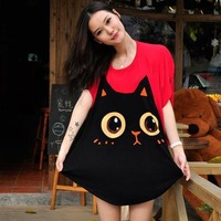 2013 NEW Fashion Two-color  Korean Women cute cat printed short-sleeved Cotton T Shirt TOPS SALE shirt Free shipping T21806