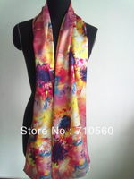 pure mulberry silk satin long scarf/shawl/hijab top high quality painting  hand-rolled for lady 53*175cm wholesale