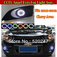 CCFL Angel eyes LED Fog Lights Lamp Daytime Running Light Assy Chevy Aveo 2010+Free Shipping