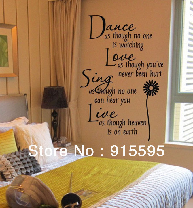 "Free Shipping:Wall Quotes""Dance Love Sing Live""Removable PVC Vinyl Wall Stickers Decals Art Small size:40*60cm/16''*24in(China (Mainland))"