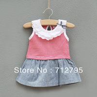 Little girls' summer 100% cotton princess tank dress stripe one-piece dress