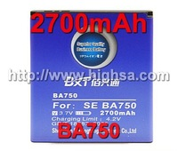 2700mAh BA750 High Capacity Battery Use for Sony Ericsson LT 15i/Xperia Pro/X12 etc Mobile Phones