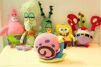 Mini soft plush toy set spongebob Patrick Star Squidward Tentacles toys with Sucker kid's gfts 6pc/set=$29.90