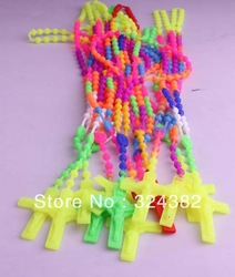 24pcs/lot New Unisex Colorful Rosary silicone link Necklace Pendant Crucifix necklace free shipping(China (Mainland))