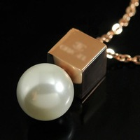 Aesthetic square pearl necklace 14k rose gold single pearl necklace chain color gold accessories
