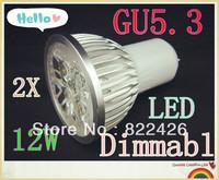 2pieces/lot 12W 220V CREE GU5.3 High Power LED Lamp, AC85-265V,warm/cool white led spot lighting FREE SHIPPING