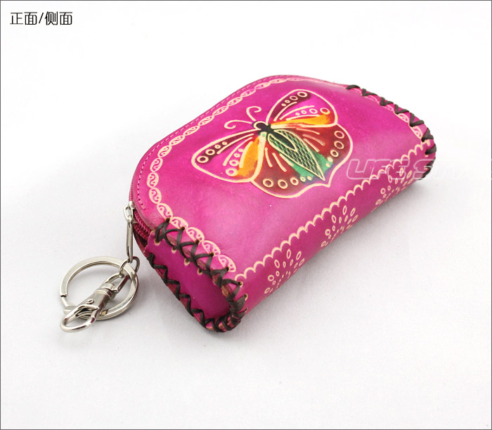 Handmade carved genuine leather key wallet coin purse day clutch mobile phone bag coin case(China (Mainland))