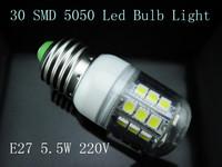Free Shipping-- 5pcs/lot E27 5.5W   360 Degree 5050 SMD 30 LED Bulb Lamp 220V Warm/Cool White led light