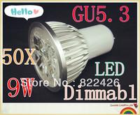 50pcs/lot High power CREE GU5.3 3x3W 9W 110V 220V Dimmable led Light led lamp led Bulb Downlight Warm/Pure/Cool White