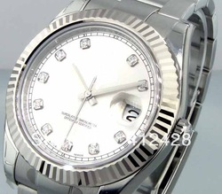 Luxury MENS STEEL DATEJUST ll SILVER DIAMOND DIAL MODEL # 116334 Automatic Edition High Dive Sport Men's Watches(China (Mainland))