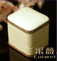 rings box luxury beige leather rings box/case size 62*54*55mm packing box wedding gift box free ship EMS