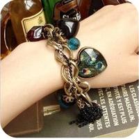 Promotion! Wholesale! Fashion lady women jewelry peacock feather big peach heart tassel vintage bracelet BR003