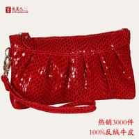 Free Shipping Women's handbag genuine leather lady clutch bag evening bag cosmetic bag