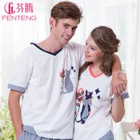 Sleepwear  romantic lovers cartoon knitted 100% cotton lounge set z132128 free shipping