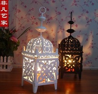 European rural Morocco style white hollow out, wrought iron storm lantern, candlestick furnishing articles, classical lantern