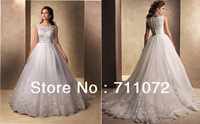 New A Line Chapel Train Bateau Organza Applique Lace Beaded Princess Unique Wedding Dress 2013