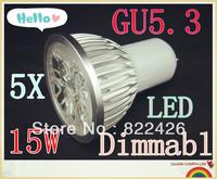 5pcs/lot High power CREE GU5.3 5x3W 15W 110V 220V Dimmable led Light led lamp led Bulb Downlight Warm/Pure/Cool White