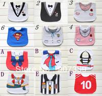 Baby Tuxedo Gentleman Feeding Bibs Baby Kids Waterproof Superman Pinny/Burp Cloths Designs 3 layers cotton 50pcs/lot