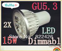2pcs/lot High power CREE GU5.3 5x3W 15W 110V 220V Dimmable led Light led lamp led Bulb Downlight Warm/Pure/Cool White