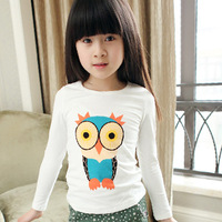 free shipping Cotton 2014 spring children's clothing cartoon owl print child baby female child long-sleeve T-shirt