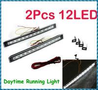 Free Shipping 2Pcs 12V 12LED Super Bright White DRL Car Daytime Running Light Dropshipping Wholesale