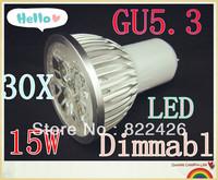 30pcs/lot High power CREE GU5.3 5x3W 15W 110V 220V Dimmable led Light led lamp led Bulb Downlight Warm/Pure/Cool White