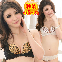 free shipping bra set women Vineco 3 breasted leopard print sexy lace adjustable bra push up underwear set