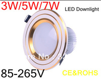 3w/5w/7w led downlight Cool light / Warm light 240~300lm AC86~265V 3w led ceiling downlight 1pcs/lot Free shipping