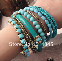 Fashion bohemia resin gem mix match elastic green beaded bracelet for women B5055(Order>$10 Free Shipping)