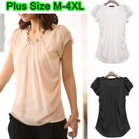 Cheap 3 Colours Plus Size Ladies O-neck Double Layer Short Sleeve Ruffle Chiffon Patchwork Front Summer Blouses Size M-4XL