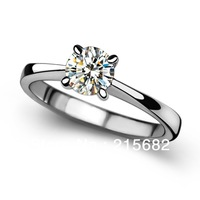Italina Courtship gift Korean Love  V-shaped four-claw Hearts Arrows Swiss crystal Ring Sterling Silver female Kedol-SL14