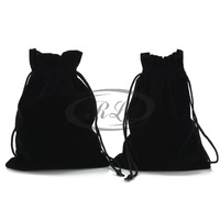 Jewelry bags bag gift bags advanced cloth-soled plush black pouch high quality Large 13 16
