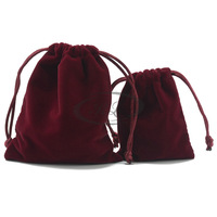 Wine red velvet cloth bag red senior flannelet gift bag jewelry bag accessories bag