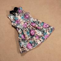 tie-dyeing print royal vintage gorgeous slim waist big skirt spring and summer clothing tank dress
