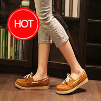 2013 spring  lace up boat shoes comfortable female round toe flat heel fashion flat platform casual shoes cool british sneakers