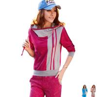 free shipping 2013 spring fashion women sportswear casual outdoor women's set Women 100% cotton set