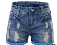Free Shipping!2013 new Korean version of the to XL Women Xia summer fat MM hole to do the old shorts