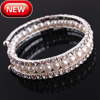 Pearl Crystal Braclets Rhinestone Bangle Bracelets Multi Layers Fashion Women Bracelets Freeshipping Wholesale Jewelry