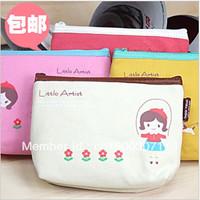 KOREAN style Canvas cartoon clutch coin purse  Women day clutch 2pcs/lot FREE SHIPPING+DROP SHIPPING