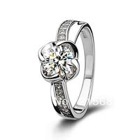 Italina free shipping  2 carat zirconium gem Hearts  Arrows Swiss crystal Wedding flower Ring  Women 925 Silver Kedol-SL22