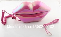 Free shipping Sexy analog Hot Pink Lip Home Desk Plastic Wired Telephone phone-3016