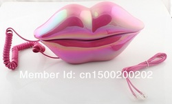 Free shipping Sexy analog Hot Pink Lip Home Desk Plastic Wired Telephone phone-3016(China (Mainland))